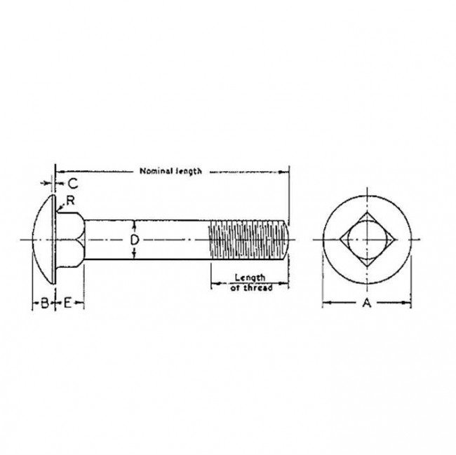 BSW Whitworth Cup Square Neck Carriage Bolt