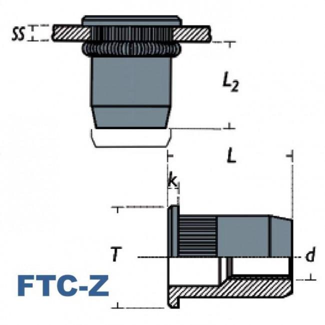 Fastenerdata - Rivet Knurled Dome Head Rivet Nut steel - Fastener