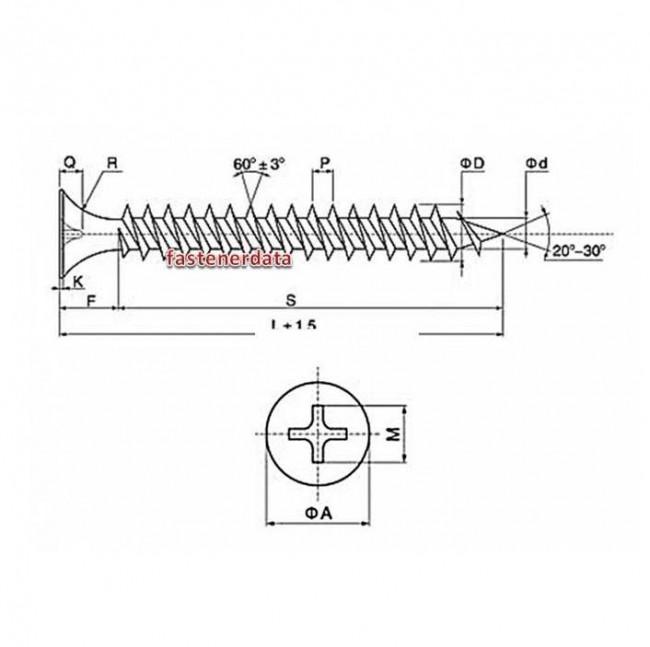 fastenerdata - metric phillips bugle head deck screw steel