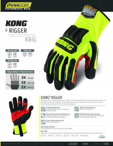 Ironclad KONG impact Rigger  KRIG Industrial Glove