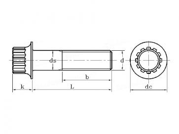 Metric Coarse 12 Point Spline Bell Flange Head Bolt Grade-8.8 B18.2.7.1M