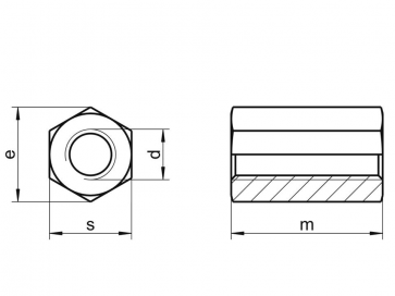 Metric Coarse Hexagon Allthread Coupling Connector 3D Class-8 DIN6334