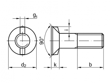 Metric Coarse Double Nib Countersunk Bolt Grade-4.6 DIN11014