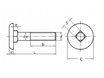 Metric Coarse Cup Head Square Neck Bolt Grade-10.9 DIN11015