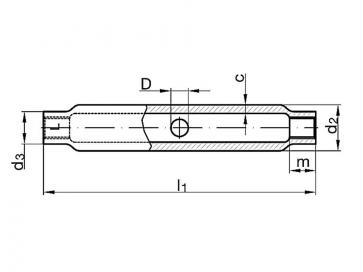Metric Coarse Tubular Turnbuckle Body Steel DIN1478