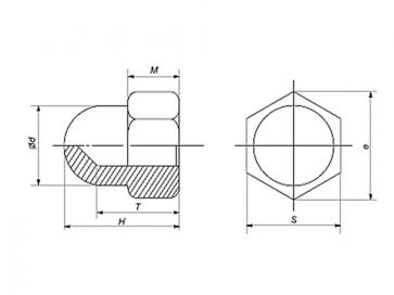 Fastenerdata Metric Coarse Domed Acorn Hexagon Nut Brass