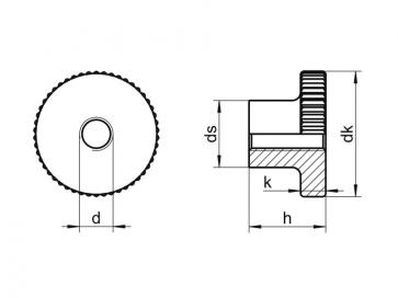 Metric Coarse Round Knurled Thumb Nut Class-5 Steel DIN466
