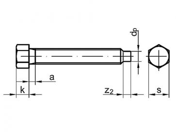 Metric Coarse Hexagon Head Bolt with Dog Point Grade-8.8 DIN561 B