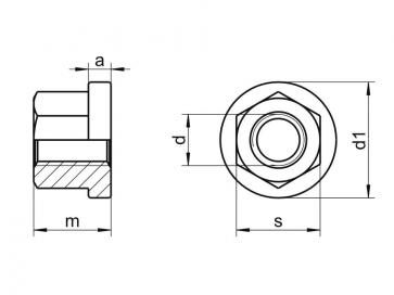Metric Coarse Hexagon Nut with Collar Hight 1.5D Class-10 DIN6331