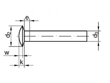 Metric Mushroom Head Solid Rivet Brass DIN662