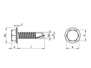 Metric Hexagon Washer Flange Head Self Drilling Screw Case Hardened Steel DIN7504K