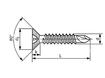 Metric Phillips Countersunk Head Self Drilling Screw Stainless-Steel-A2 DIN7504PH
