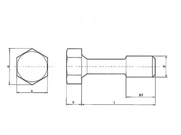 Metric Coarse Reduced Shank Bolt DIN 931 Grade-8.8 DIN7964D