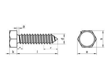 Metric Hexagon Head Self Tapping Screw AB Stainless-Steel-A2 DIN7976C