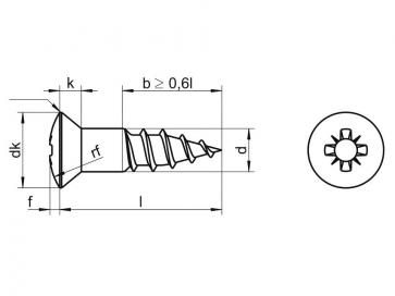 Metric Pozi Raised Countersunk Head Wood Screw Brass DIN7995Z