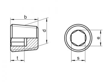 Inch Socket Taper Pressure Pipe Plugs Copper DIN906R