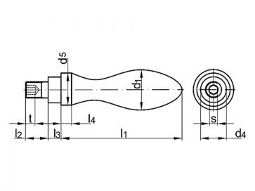 Metric Coarse Rotatable Ball Handle Steel DIN98E