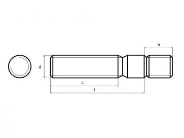 Metric Coarse Engineers Stud Metal End =1 D Sk6 Stainless-Steel-A2 DIN938