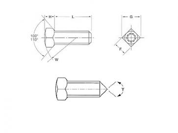 UNC Square Head Set Screw Cone Pt Case Hardened Steel B18.6.2