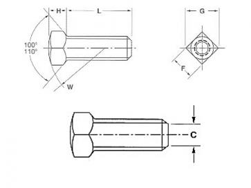 UNC Square Head Set Screw Flat Pt Case Hardened Steel B18.6.2