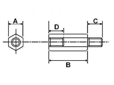 Metric Coarse Hexagon Stand-Off Male Female Steel