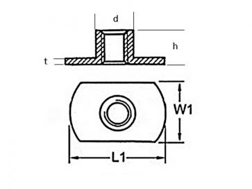 Metric Coarse Tee Nut Slab Base No Pips Or Holes Mild Steel