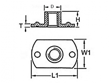 Metric Coarse Tee Nut Slab Base 2 Upper Weld Pips Stainless-Steel