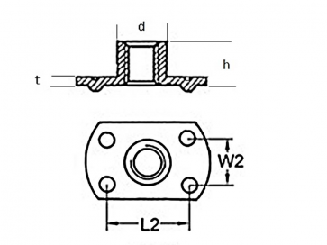 Metric Coarse Tee Nut Slab Base 4 Under Weld Pips Stainless-Steel