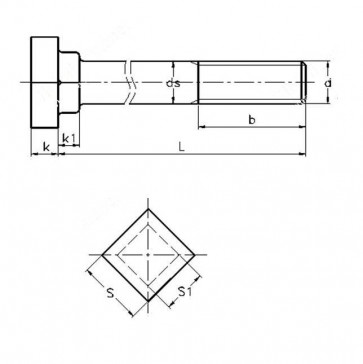 Metric Coarse Square Square Holding Down Bolts Grade-8.8 BS7419