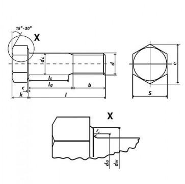 Metric Coarse Structural HSFG Bolt Grade-8.8 EN14399-4 Preload