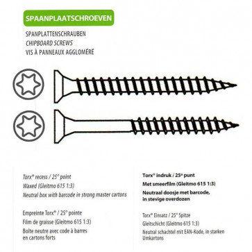 Torx Head Countersunk Chip Board Screw A2 Stainless Steel DTL packaging