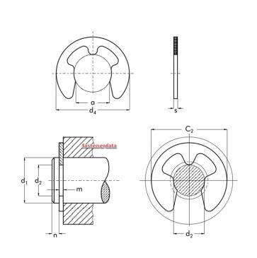 Metric Retaining E Clip Stainless-Steel DIN6799