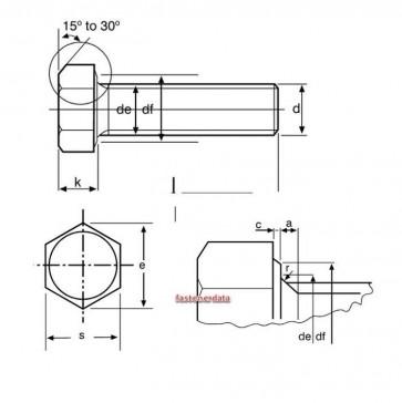 Metric Coarse Structural Screw HSFG Screw Grade-8.8 BS EN15048 Non Preload