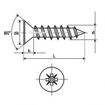 Metric Coarse Pozi Countersunk Chipboard Screw Steel DIN7505A