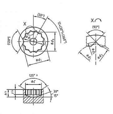 Metric 12 Point  Internal Drive DIN34824 for DIN34821 DIN34822 DIN34823