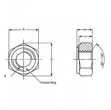 Metric Coarse Staytite All Metal Self Locking Nut Steel