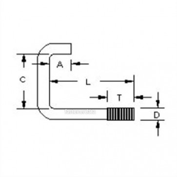 Metric Coarse Square Bend Hook Bolt Steel