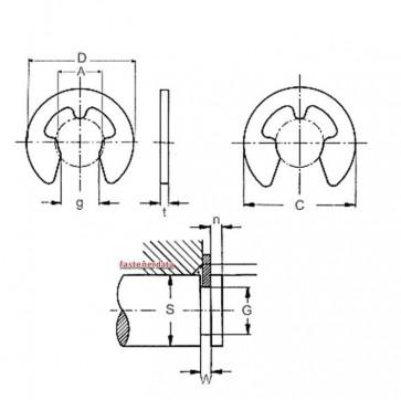 Inch Retaining E Circlip Spring-Steel
