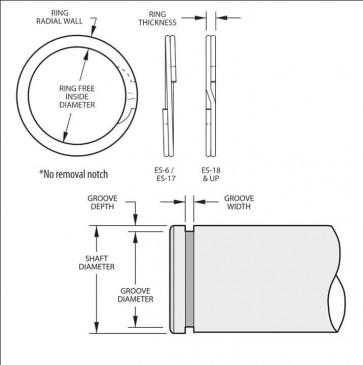 External Spirolox Retaining Rings Type XES Aerospace Metric