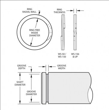 External Spirolox Retaining Rings Type XWS Medium Duty Inch