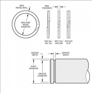 External Spirolox Retaining Rings Type XWST Medium Heavy Duty Inch