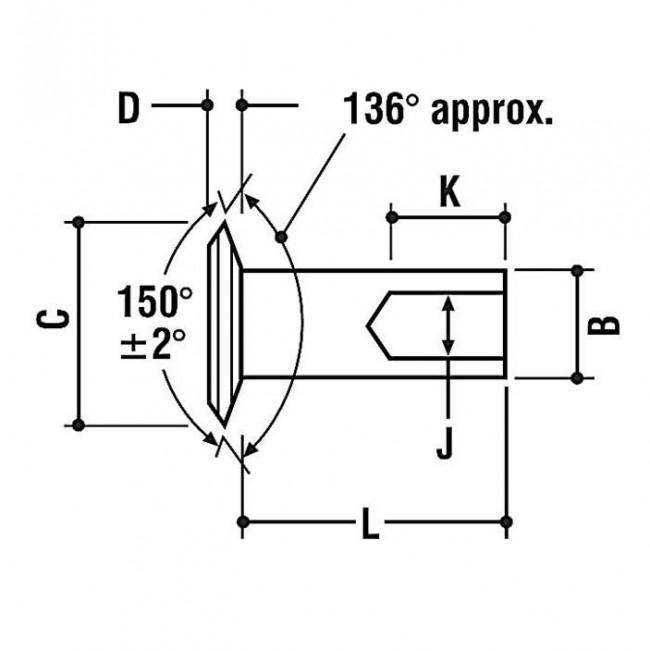 Fastenerdata Inch 150 Deg Large Flat Countersunk Semi
