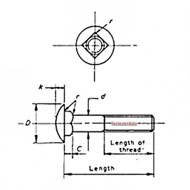 Metric Coarse Cup Square Neck Carriage Bolt