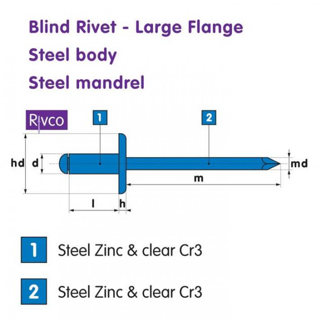 Fastenerdata Rivco Blind Rivet Large Flange Steel Body