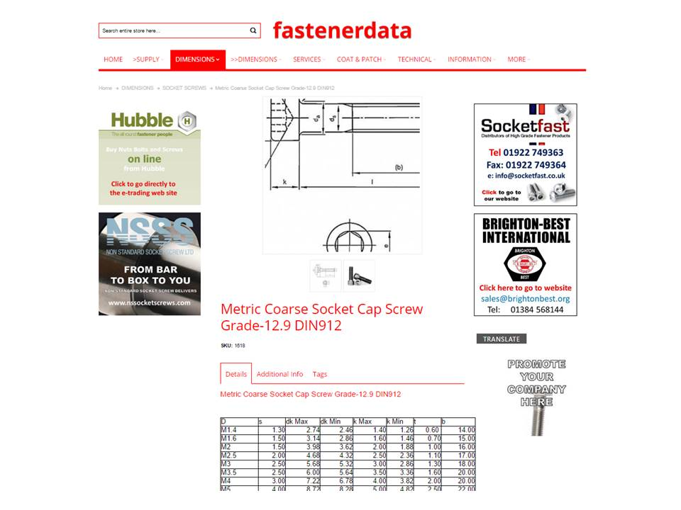 FASTENER PRODUCTS ON FASTENERDATA