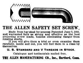 allen safety set screw